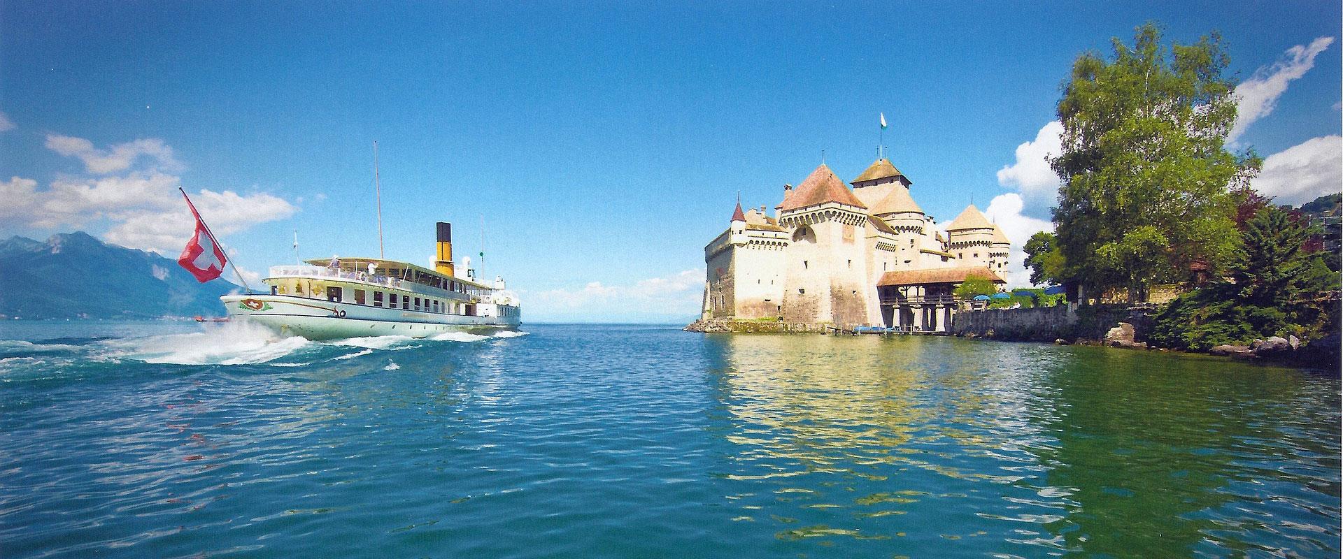 Wasserburg Schloss Chillon am Genfersee im Kanton Waadt